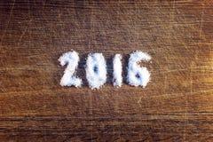 Szczęśliwy nowy rok 2016 pisać cukierze Zdjęcia Royalty Free