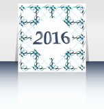 Szczęśliwy nowy rok 2016 pisać na abstrakcjonistycznym ulotki lub broszurki projekcie Obraz Stock