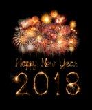 Szczęśliwy nowy rok 2018 pisać z błyskotanie fajerwerkiem Obrazy Stock