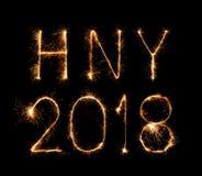 Szczęśliwy nowy rok 2018 pisać z błyskotanie fajerwerkiem Zdjęcie Royalty Free