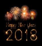 Szczęśliwy nowy rok 2018 pisać z błyskotanie fajerwerkiem Obrazy Royalty Free