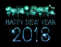 Szczęśliwy nowy rok 2018 pisać z błyskotanie fajerwerkiem Obraz Stock