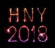 Szczęśliwy nowy rok 2018 pisać z błyskotanie fajerwerkiem Fotografia Stock