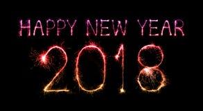 Szczęśliwy nowy rok 2018 pisać z błyskotanie fajerwerkiem Zdjęcie Stock