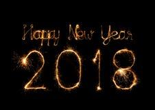 Szczęśliwy nowy rok 2018 pisać z błyskotanie fajerwerkiem Fotografia Royalty Free