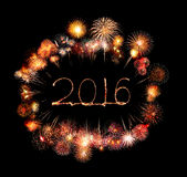 Szczęśliwy nowy rok 2016 pisać z błyskotanie fajerwerkiem Obraz Stock