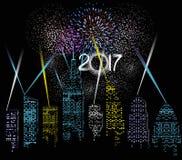 Szczęśliwy nowy rok 2017 pisać z fajerwerkiem i miasta światłem Zdjęcia Stock