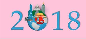 Szczęśliwy nowy rok 2018 Punkty zwrotni Hongkong na kuli ziemskiej Papierowy sztuki i rzemiosła styl Obraz Stock