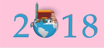 Szczęśliwy nowy rok 2018 Punkty zwrotni Tajwan na kuli ziemskiej Papierowy sztuki i rzemiosła styl Zdjęcie Royalty Free