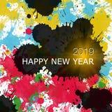 Szczęśliwy nowy rok 2019, różnorodność kolory, kolor opuszcza royalty ilustracja