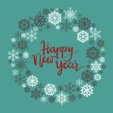 Szczęśliwy nowy rok ręki literowania kartka z pozdrowieniami royalty ilustracja