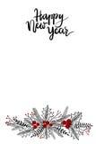 Szczęśliwy nowy rok ręki literowania kartka z pozdrowieniami ilustracja wektor