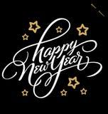 SZCZĘŚLIWY nowy rok ręki literowanie () Fotografia Royalty Free