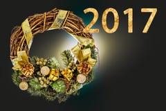 Szczęśliwy nowy rok 2017 rok na abstrakcjonistycznej plamy świątecznym tle Fotografia Stock
