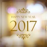 Szczęśliwy nowy rok 2017 rok na abstrakcjonistycznej plamy bokeh świątecznym backgrou Zdjęcia Stock