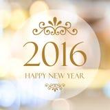 Szczęśliwy nowy rok 2016 rok na abstrakcjonistycznym plamy bokeh tle Fotografia Stock