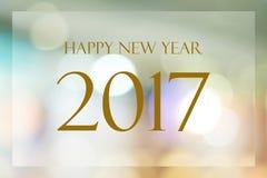 Szczęśliwy nowy rok 2017 rok na abstrakcjonistycznym plamy bokeh tle Obraz Stock