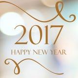 Szczęśliwy nowy rok 2017 rok na abstrakcjonistycznym plamy bokeh tle Obrazy Royalty Free