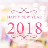 Szczęśliwy nowy rok 2018 rok na pięknym plamy tle robi zakupy m Zdjęcia Stock