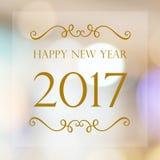 Szczęśliwy nowy rok 2017 rok na plamy bokeh tle Fotografia Stock