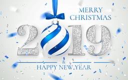 Szczęśliwy nowy rok 2019, srebro liczb kartka z pozdrowieniami projekt, spada błyszczący confetti, Xmas piłka z błękitnym łękiem, royalty ilustracja