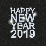 Szczęśliwy nowy rok 2019 Tekst z srebnymi cekinami ilustracja wektor