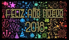 Szczęśliwy nowy rok 2018 w hiszpańszczyznach Obrazy Royalty Free