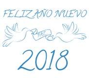 Szczęśliwy nowy rok 2018 w hiszpańszczyznach Zdjęcie Royalty Free