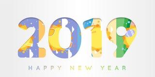 Szczęśliwy nowy rok 2019 w materialnym projekta pojęciu na kolorowym tle zdjęcie stock