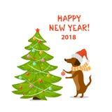 Szczęśliwy nowy rok 2018 wakacji kreskówki psa jamnik dekoruje choinki royalty ilustracja