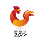 Szczęśliwy nowy rok 2017 Wektorowy kartka z pozdrowieniami z czerwonego koguta nowożytnym symbolem 2017 i kaligrafią Fotografia Stock