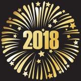 szczęśliwy nowy rok 2018 złoci 2 Zdjęcia Stock