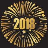 Szczęśliwy nowy rok 2018 złoci 3 Zdjęcie Royalty Free