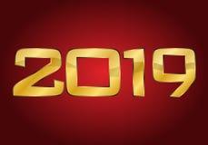 Szczęśliwy nowy rok 2019 Złoto royalty ilustracja