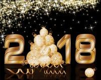 Szczęśliwy Nowy 2018 rok złoty tło Fotografia Stock