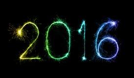 Szczęśliwy nowy rok 2016 z błyskotanie fajerwerkiem Zdjęcia Royalty Free