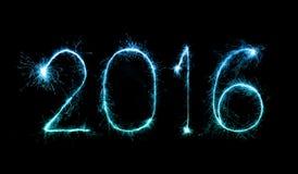 Szczęśliwy nowy rok 2016 z błyskotanie fajerwerkiem Obrazy Royalty Free