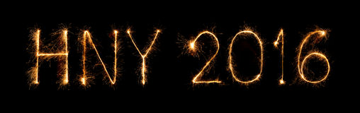 Szczęśliwy nowy rok 2016 z błyskotanie fajerwerkiem Zdjęcia Stock
