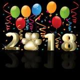 Szczęśliwy nowy rok 2018 z balonami i confetti Fotografia Royalty Free