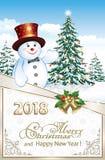 Szczęśliwy nowy rok 2018 z Christmastree i bałwanem Obrazy Royalty Free