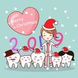 Szczęśliwy nowy rok z dentystą fotografia stock