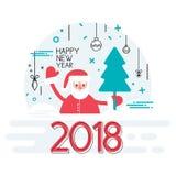 Szczęśliwy nowy rok 2018 rok z faborkiem i Santa wakacje tłem Bożenarodzeniowy dekoracja element Wektorowa ilustracja w ilustracja wektor