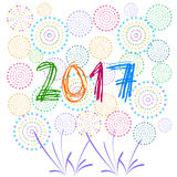 Szczęśliwy nowy rok 2017 z fajerwerku tłem Obraz Royalty Free