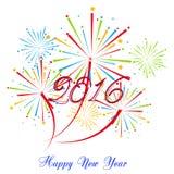 Szczęśliwy nowy rok 2016 z fajerwerku wakacje tłem Fotografia Royalty Free