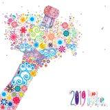 Szczęśliwy nowy rok 2019 z kwiecistym wybuchem ilustracja wektor