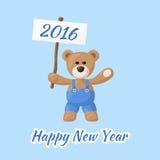 Szczęśliwy nowy rok z misiem ilustracja wektor