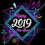 Szczęśliwy nowy rok 2019 z nowożytnego sztandaru kolorowym tłem obraz stock