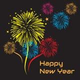 Szczęśliwy nowy rok z ornamentów fajerwerkami i tło czernimy obraz stock