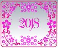 Szczęśliwy nowy rok 2018 z tłem ilustracji