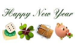 Szczęśliwy nowy rok 2017 z talizmanów symbolami Zdjęcia Royalty Free